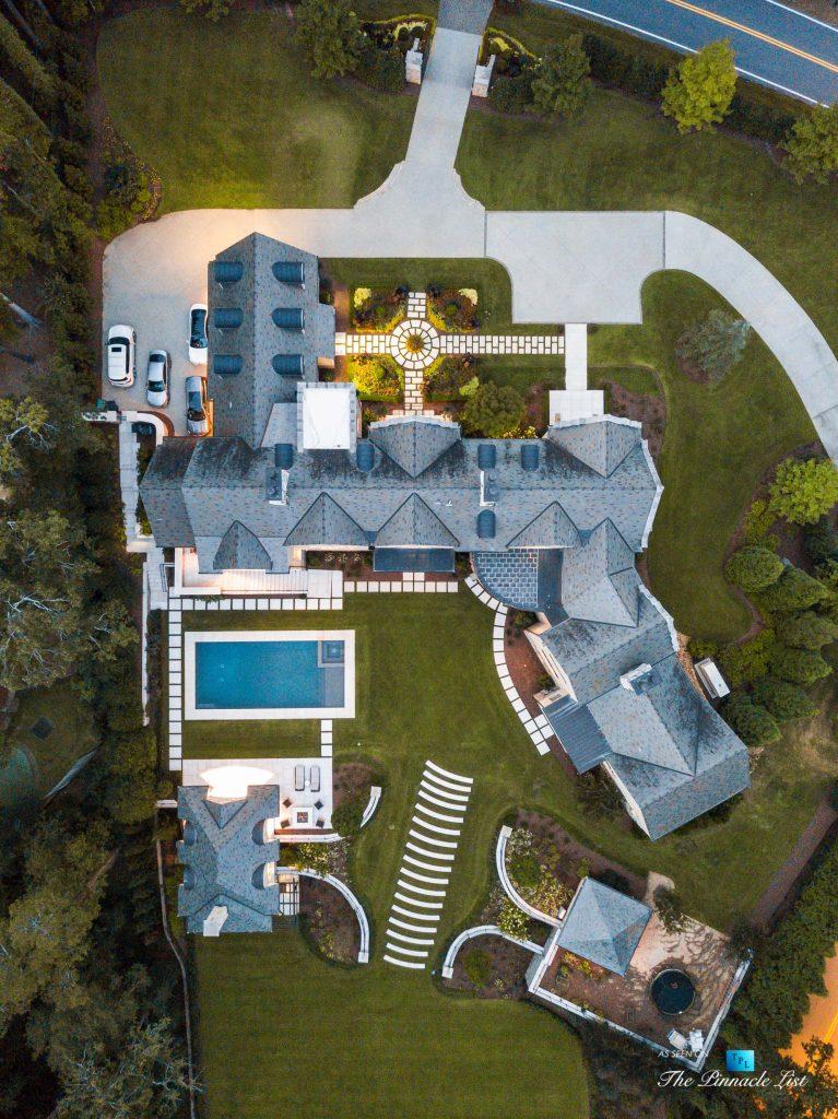 1150 W Garmon Rd, Atlanta, GA, USA - Drone Overhead Aerial Backyard Property View - Luxury Real Estate - Buckhead Estate House