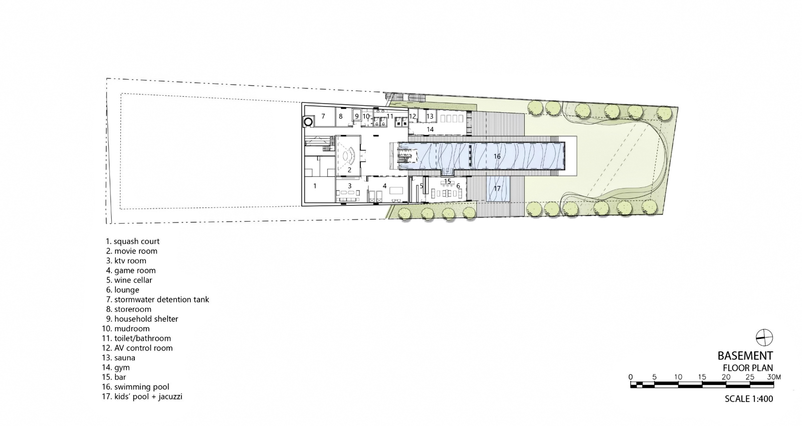 Basement Floor Plan - Hidden House Luxury Estate - Ridout Road, Singapore