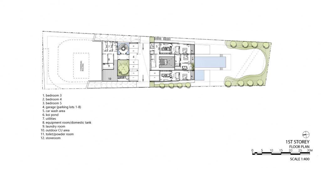 First Floor Plan - Hidden House Luxury Estate - Ridout Road, Singapore