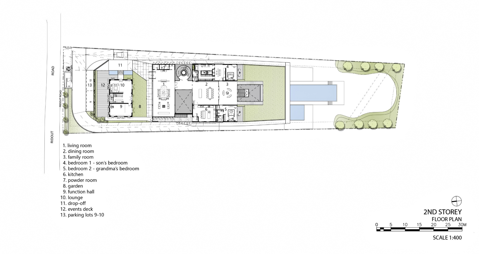 Second Floor Plan - Hidden House Luxury Estate - Ridout Road, Singapore