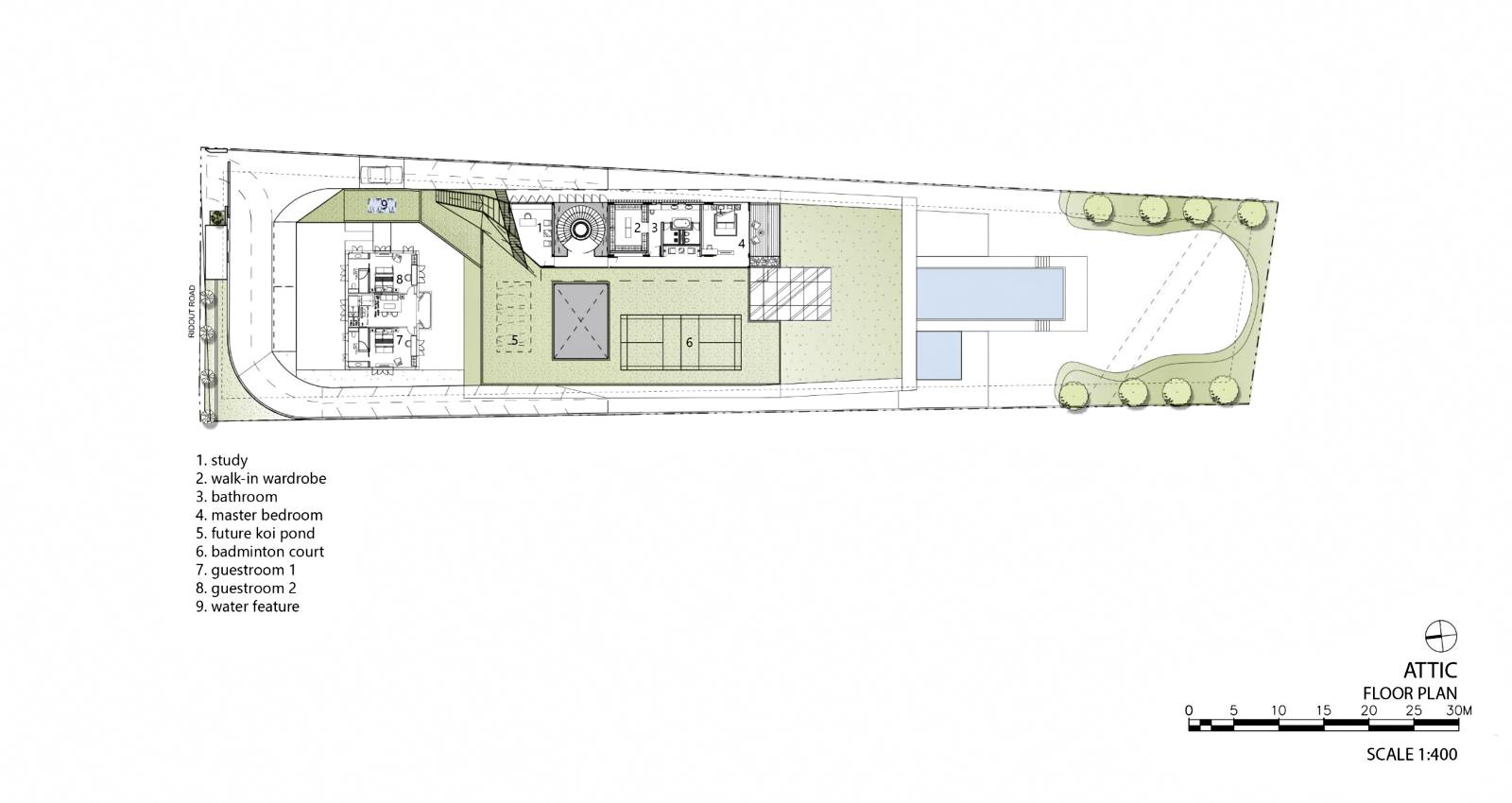 Attic Floor Plan - Hidden House Luxury Estate - Ridout Road, Singapore