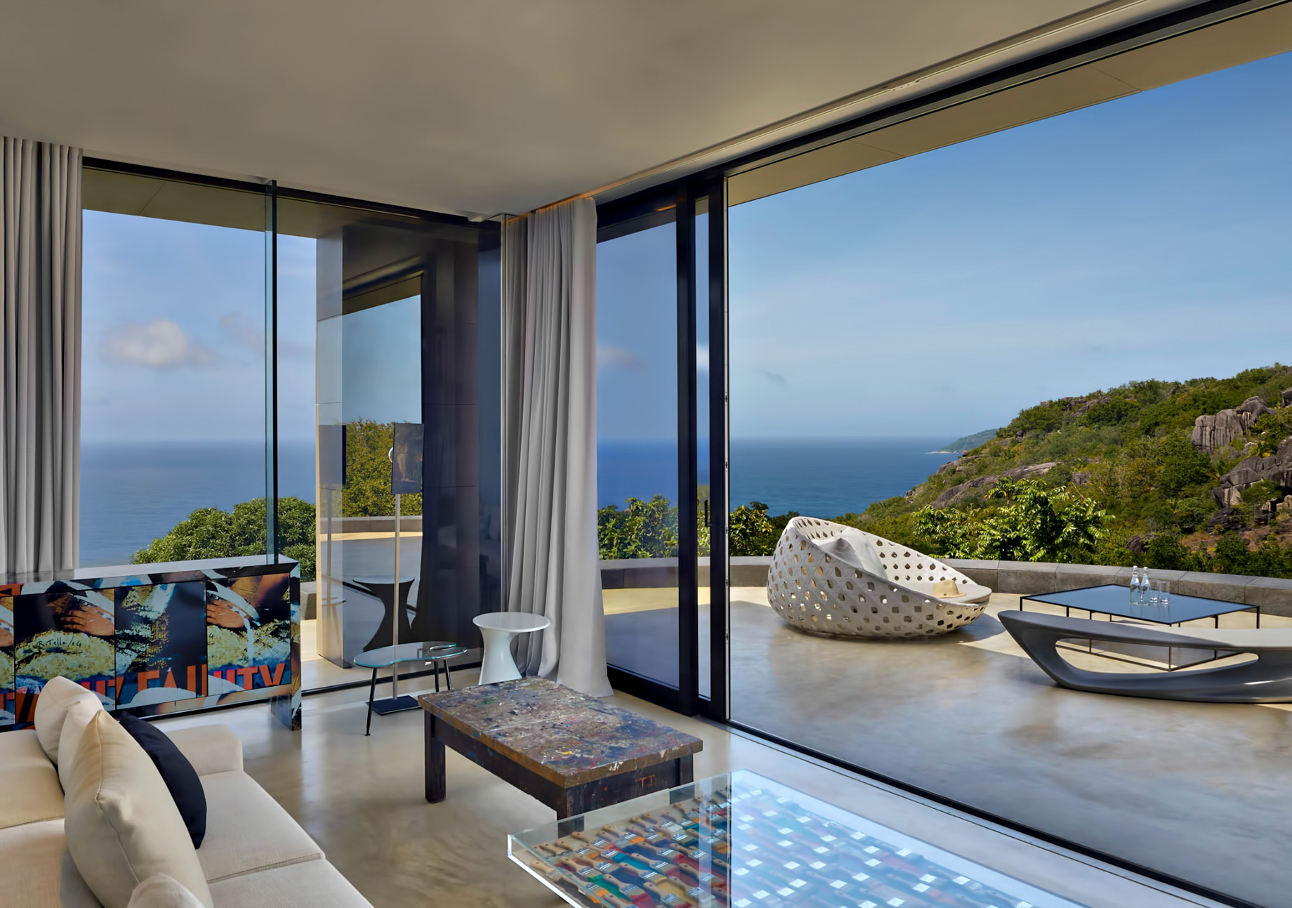 Private Four Bedroom Residence – Felicite Island, Seychelles – Master Lounge and Terrace