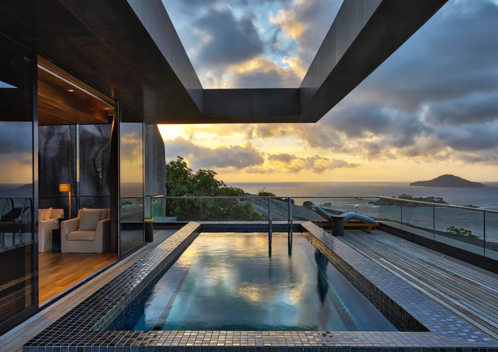 Four Bedroom Luxury Residence - Felicite Island, Seychelles - Master Pool Sunset