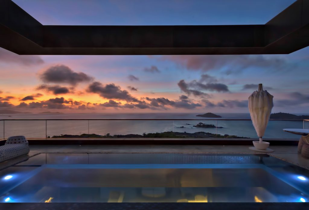 Private Four Bedroom Residence - Felicite Island, Seychelles - Master Pool Sunset