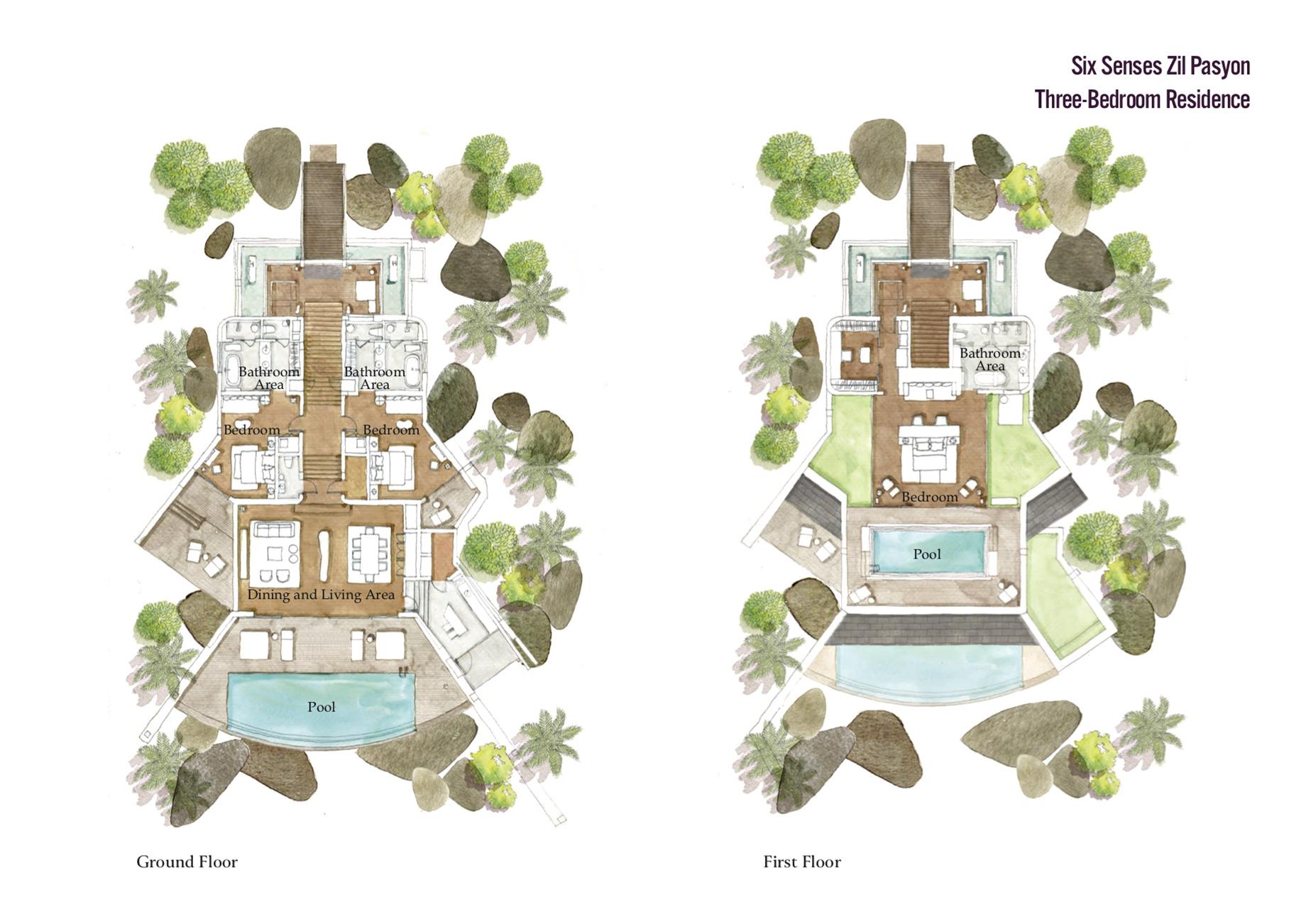 Floor Plans - Three Bedroom Luxury Residence - Felicite Island, Seychelles