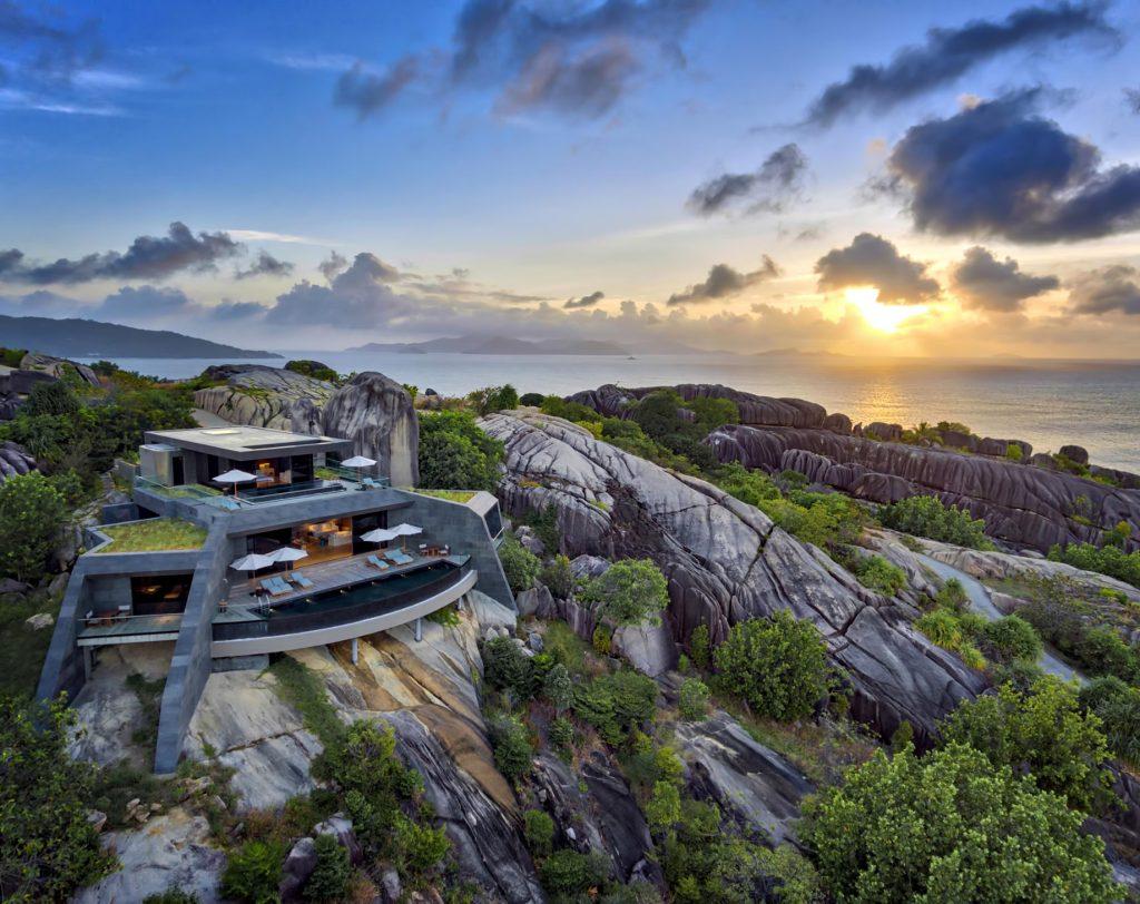 Four Bedroom Luxury Residence - Felicite Island, Seychelles - Villa Sunset Aerial