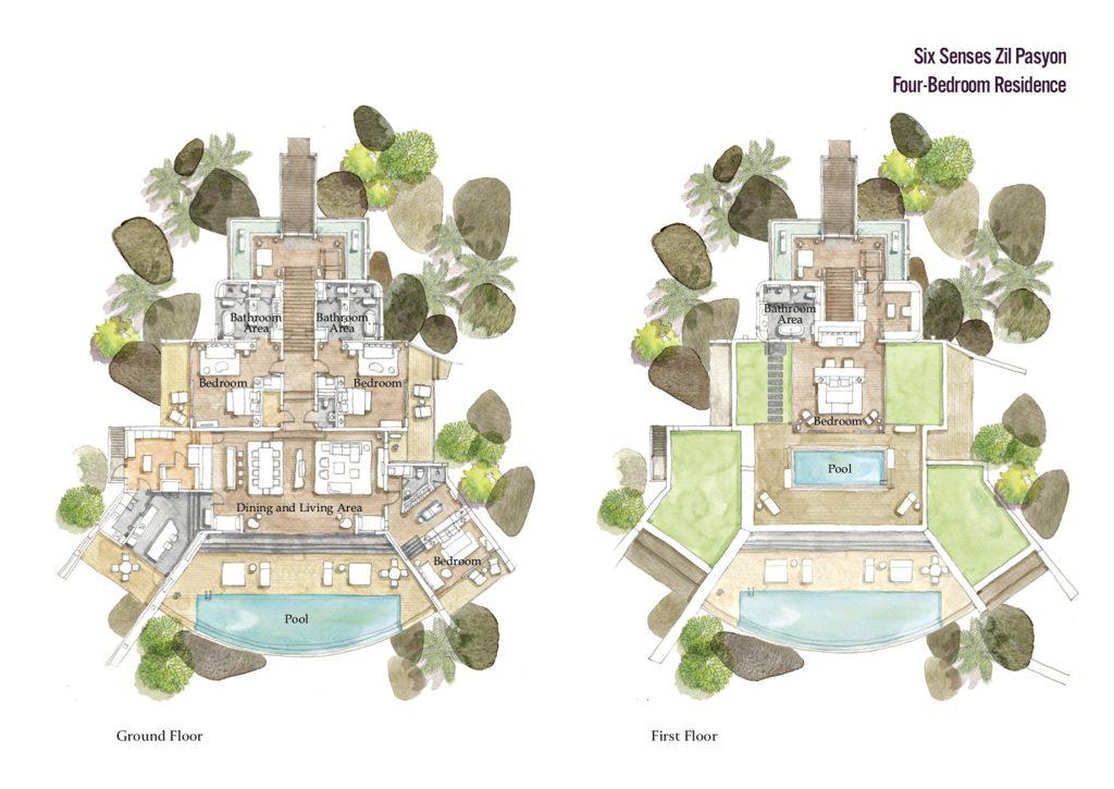 Floor Plans - Four Bedroom Luxury Residence - Felicite Island, Seychelles