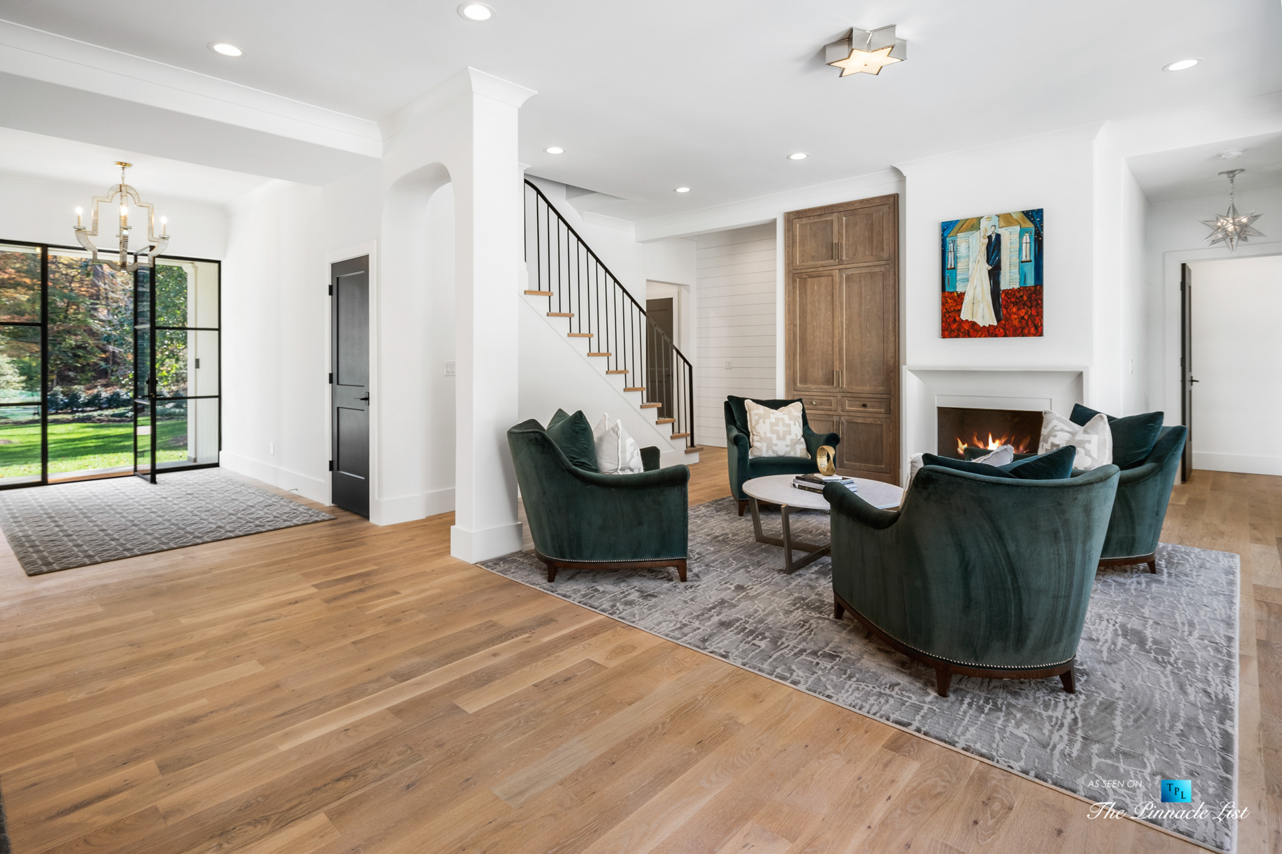 447 Valley Rd NW, Atlanta, GA, USA – Foyer Sitting Area and Glass Door – Luxury Real Estate – Tuxedo Park Home