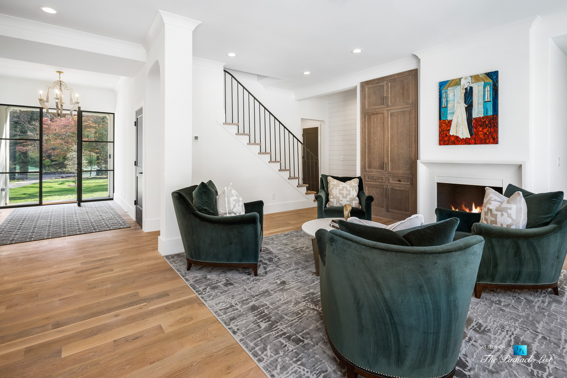447 Valley Rd NW, Atlanta, GA, USA - Foyer Sitting Area and Glass Door - Luxury Real Estate - Tuxedo Park Home