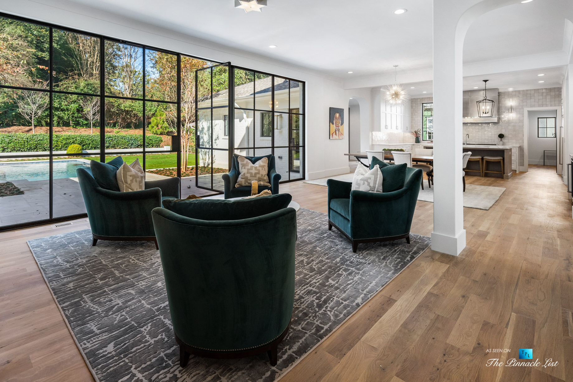 447 Valley Rd NW, Atlanta, GA, USA - Living Area and Glass Door to Outside Pool - Luxury Real Estate - Tuxedo Park Home