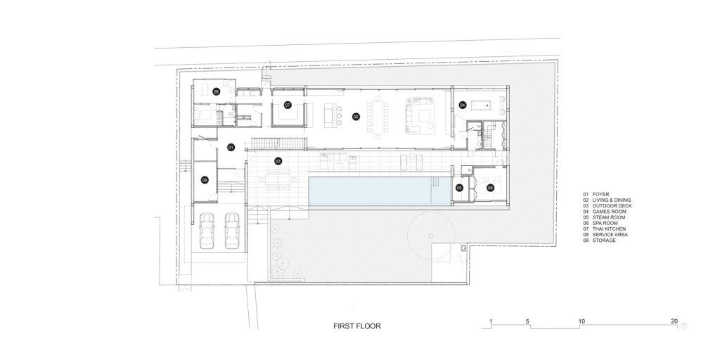 First Floor Plan - Casa de Alisa Luxury Residence - Nonthaburi, Thailand