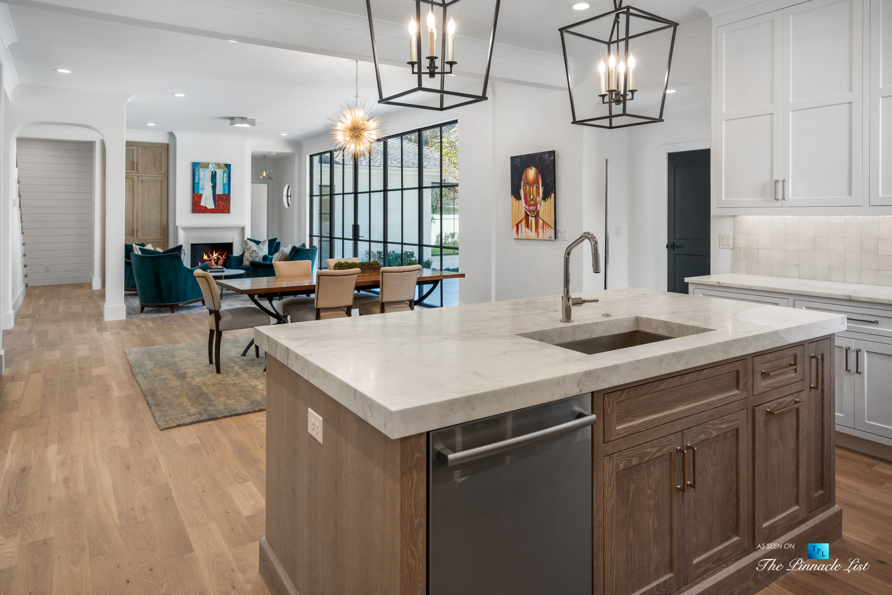 447 Valley Rd NW, Atlanta, GA, USA - Kitchen Island and Family Room - Luxury Real Estate - Tuxedo Park Home