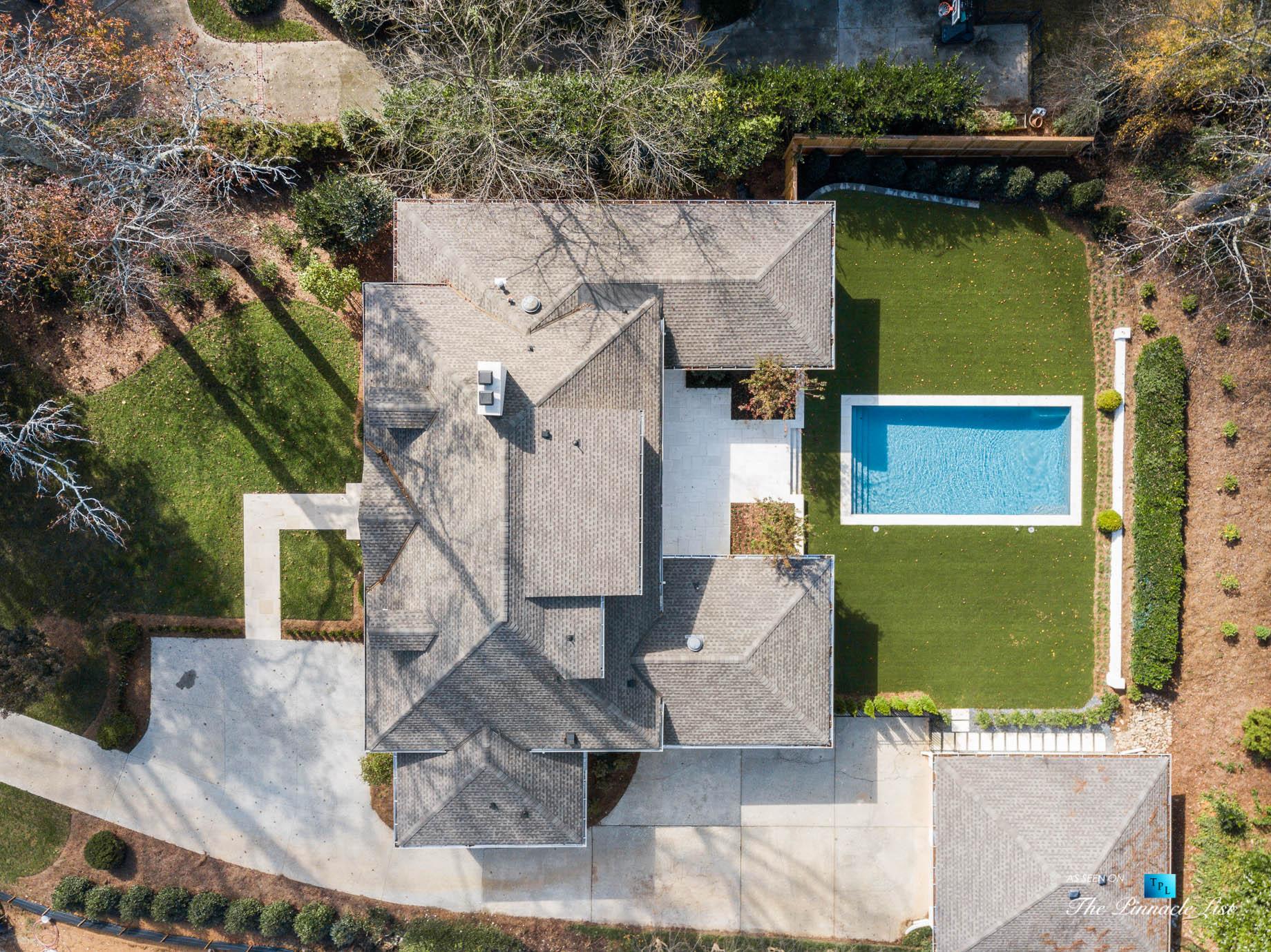 447 Valley Rd NW, Atlanta, GA, USA – Drone Overhead View Backyard Pool – Luxury Real Estate – Tuxedo Park Home