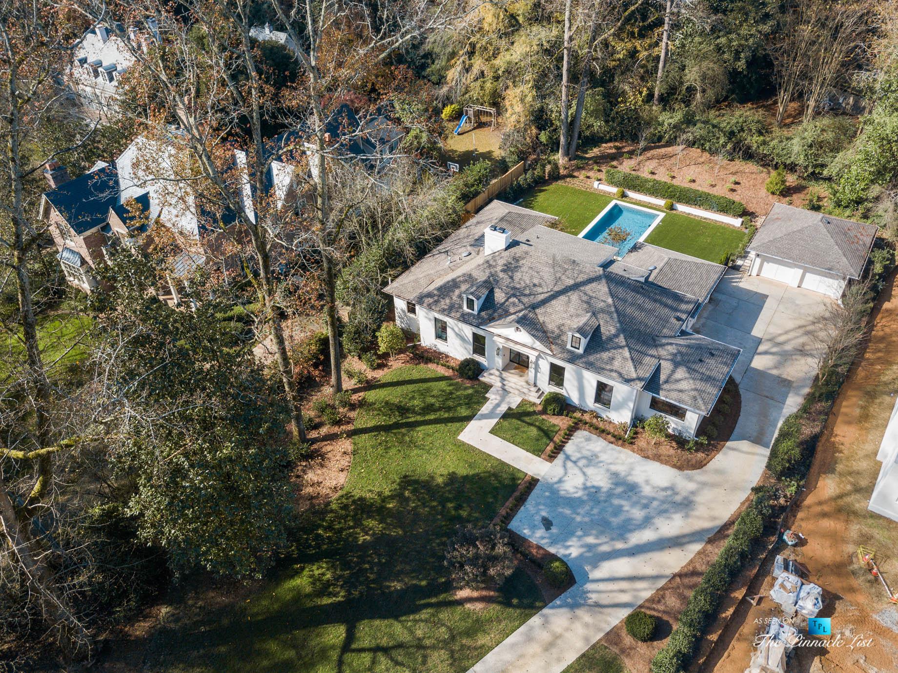447 Valley Rd NW, Atlanta, GA, USA – Drone Aerial Property View – Luxury Real Estate – Tuxedo Park Home