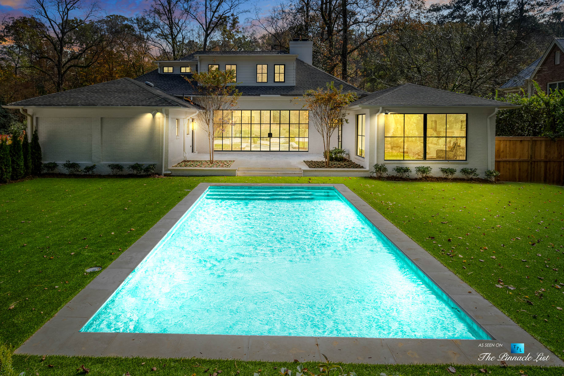 447 Valley Rd NW, Atlanta, GA, USA - Night Backyard House Pool View - Luxury Real Estate - Tuxedo Park Home