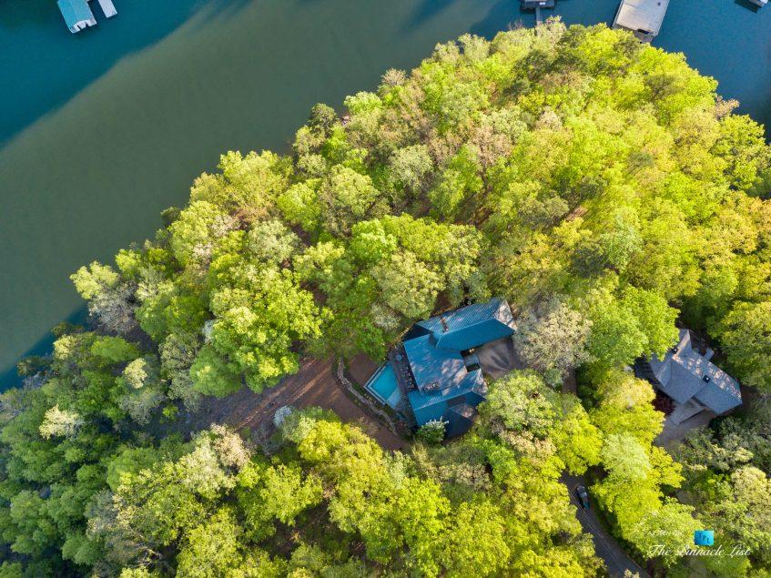 7860 Chestnut Hill Rd, Cumming, GA, USA - Drone Aerial View - Luxury Real Estate - Lake Lanier Mid-Century Modern Stone Home