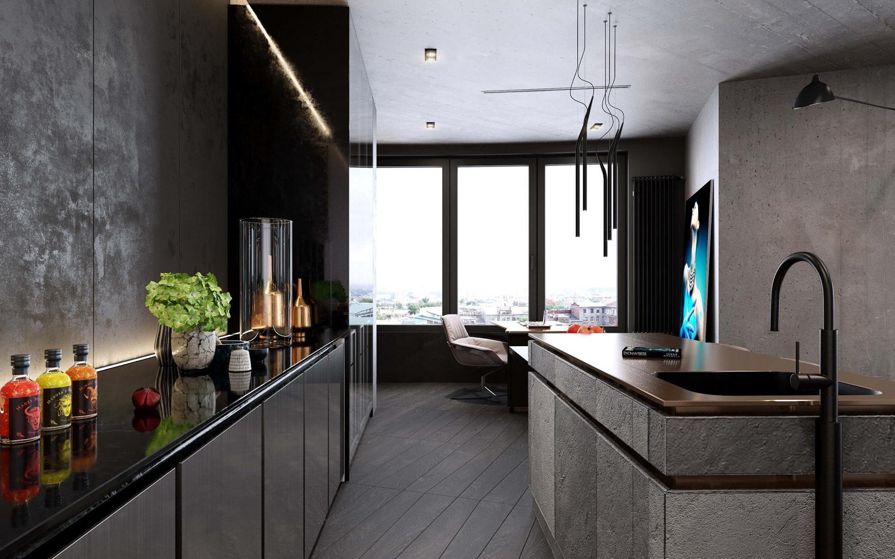 Concrete Loft Apartment Interior Design Kiev, Ukraine – Olga Korniienko