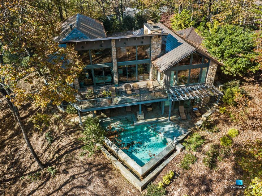 7860 Chestnut Hill Rd, Cumming, GA, USA - Drone Aerial Pool View - Luxury Real Estate - Lake Lanier Mid-Century Modern Stone Home