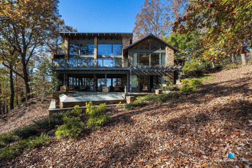 7860 Chestnut Hill Rd, Cumming, GA, USA - Pool View - Luxury Real Estate - Lake Lanier Mid-Century Modern Stone Home