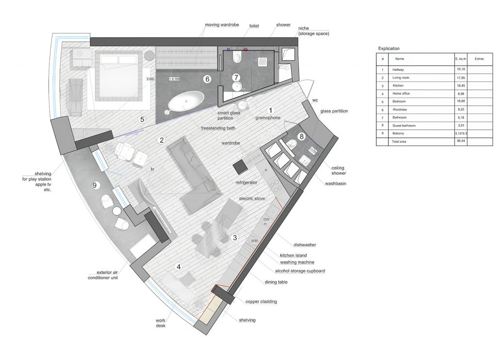 Floor Plans - Black is Back Apartment Interior Design Kiev, Ukraine - 33bY Architecture