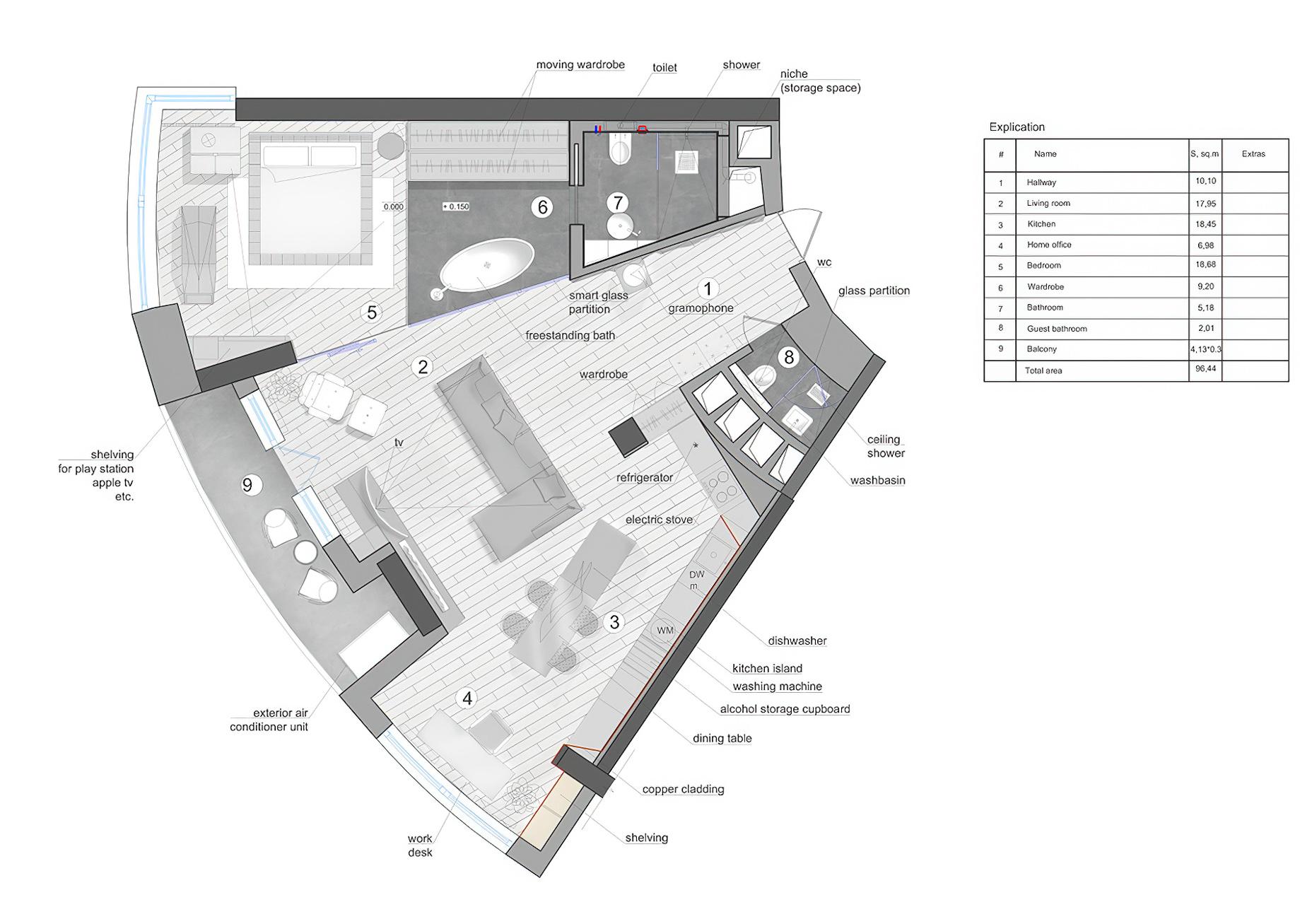 Floor Plans – Black is Back Apartment Interior Design Kiev, Ukraine – 33bY Architecture