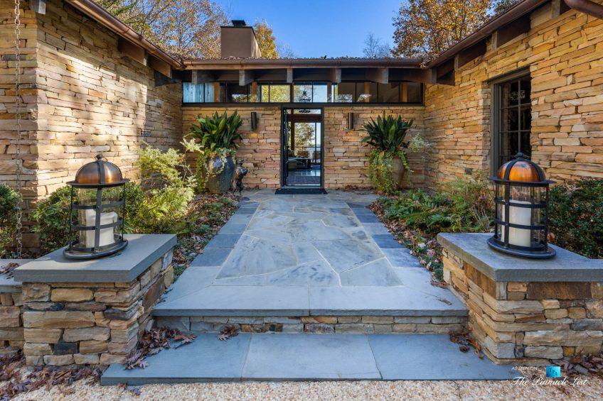7860 Chestnut Hill Rd, Cumming, GA, USA - Front Entrance - Luxury Real Estate - Lake Lanier Mid-Century Modern Stone Home