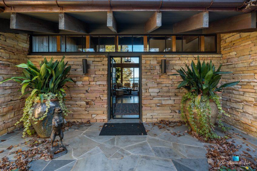 7860 Chestnut Hill Rd, Cumming, GA, USA - Front Entrance Door - Luxury Real Estate - Lake Lanier Mid-Century Modern Stone Home