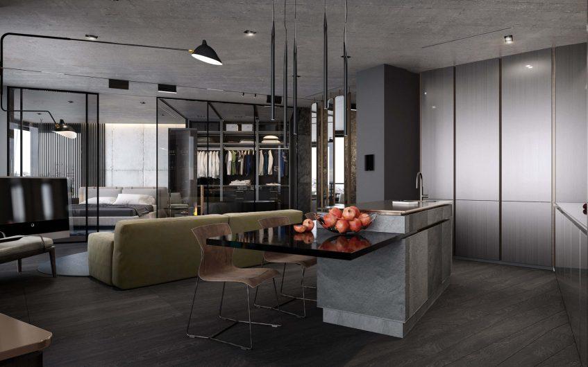 Concrete Loft Apartment Interior Design Kiev, Ukraine - Olga Korniienko