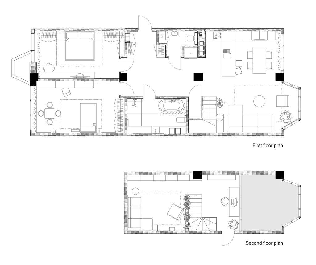 Floor Plans - Sonyachna Brama Apartment Interior Design Kiev, Ukraine - Lugerin Architects