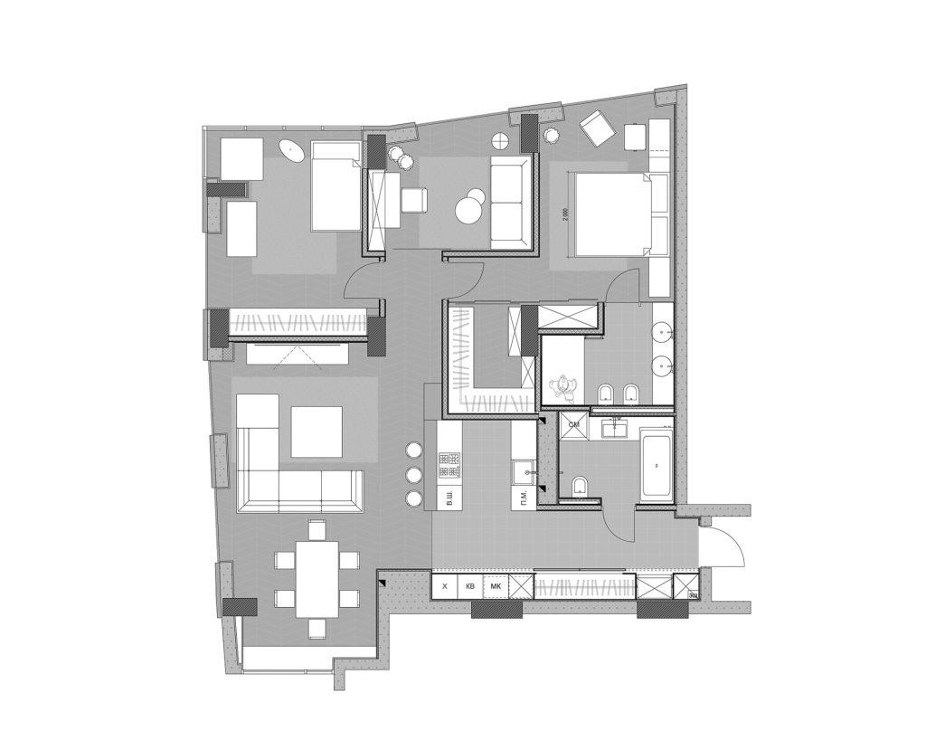 Floor Plans - River View Apartment Interior Design Dnipro, Ukraine - Svoya Studio