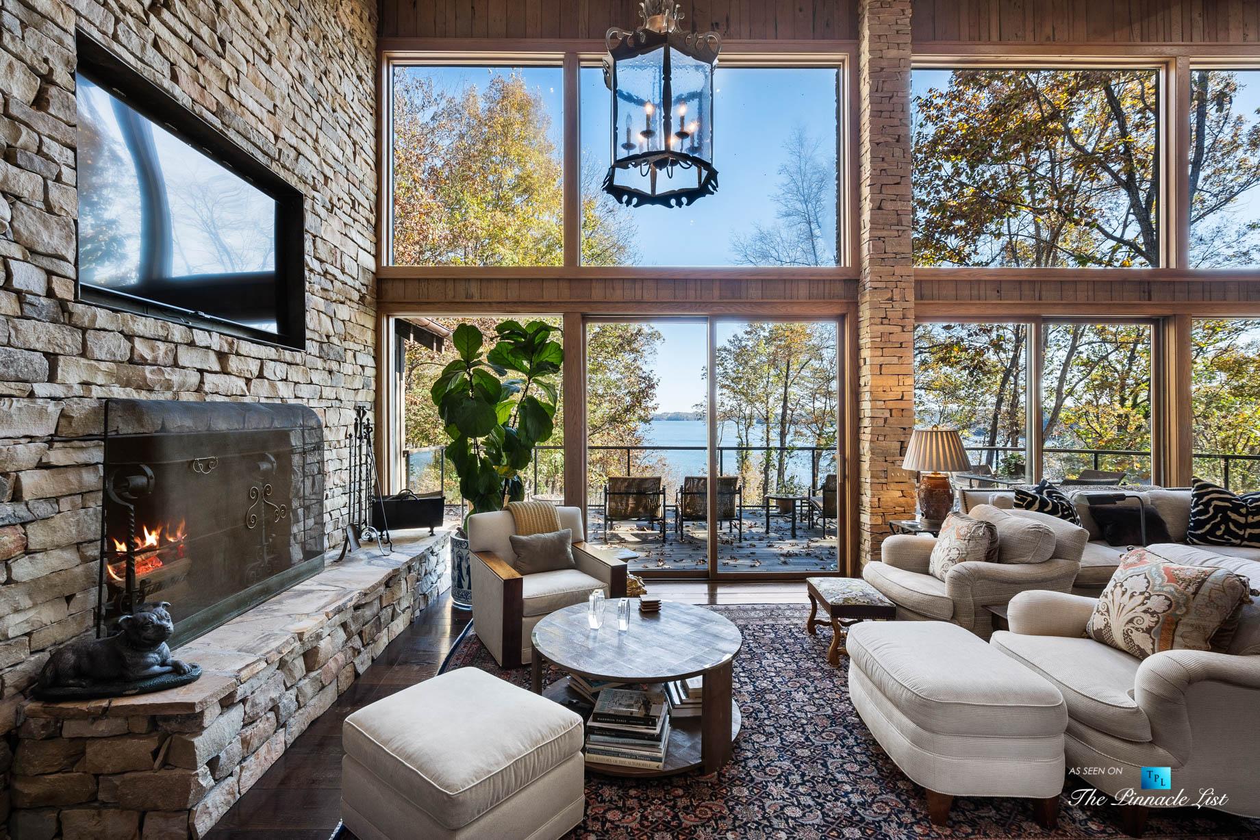 7860 Chestnut Hill Rd, Cumming, GA, USA – Living Room – Luxury Real Estate – Lake Lanier Mid-Century Modern Stone Home