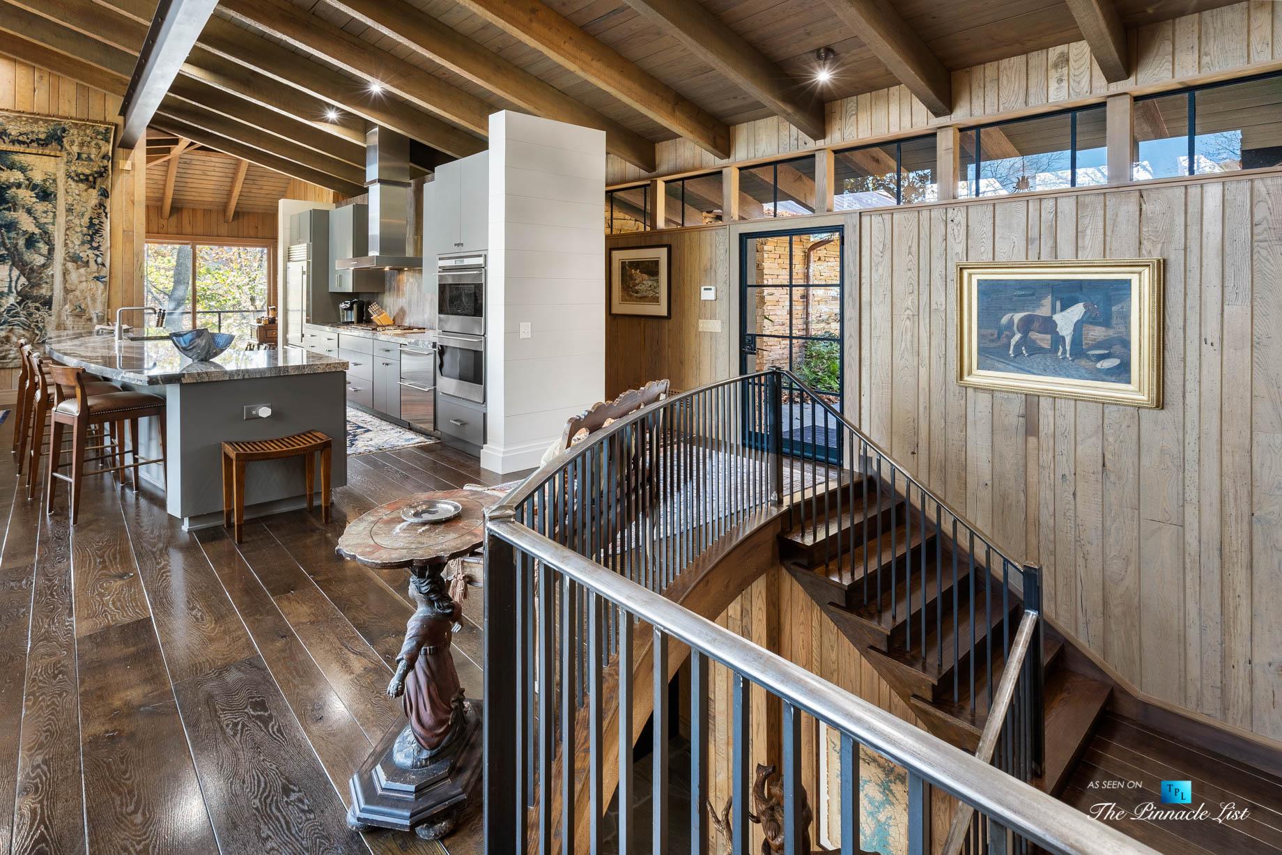 7860 Chestnut Hill Rd, Cumming, GA, USA - Stairs - Luxury Real Estate - Lake Lanier Mid-Century Modern Stone Home