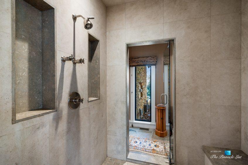 7860 Chestnut Hill Rd, Cumming, GA, USA - Master Bathroom Shower - Luxury Real Estate - Lake Lanier Mid-Century Modern Stone Home