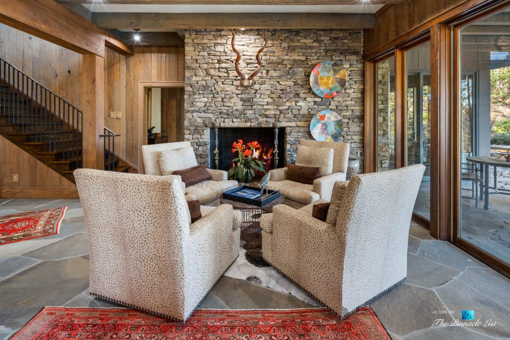 7860 Chestnut Hill Rd, Cumming, GA, USA - Sitting Area and Fireplace - Luxury Real Estate - Lake Lanier Mid-Century Modern Stone Home