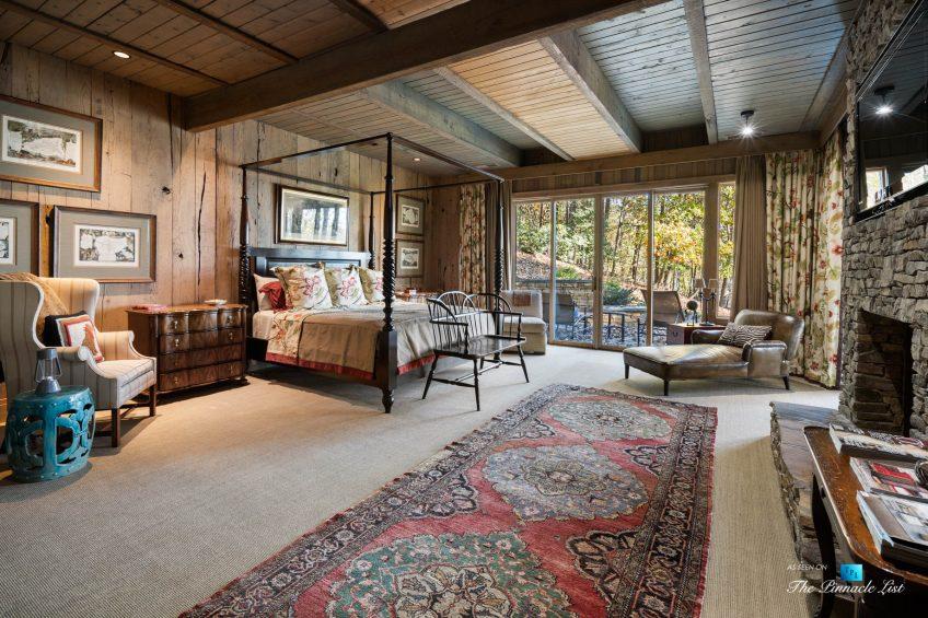 7860 Chestnut Hill Rd, Cumming, GA, USA - Bedroom Fireplace - Luxury Real Estate - Lake Lanier Mid-Century Modern Stone Home