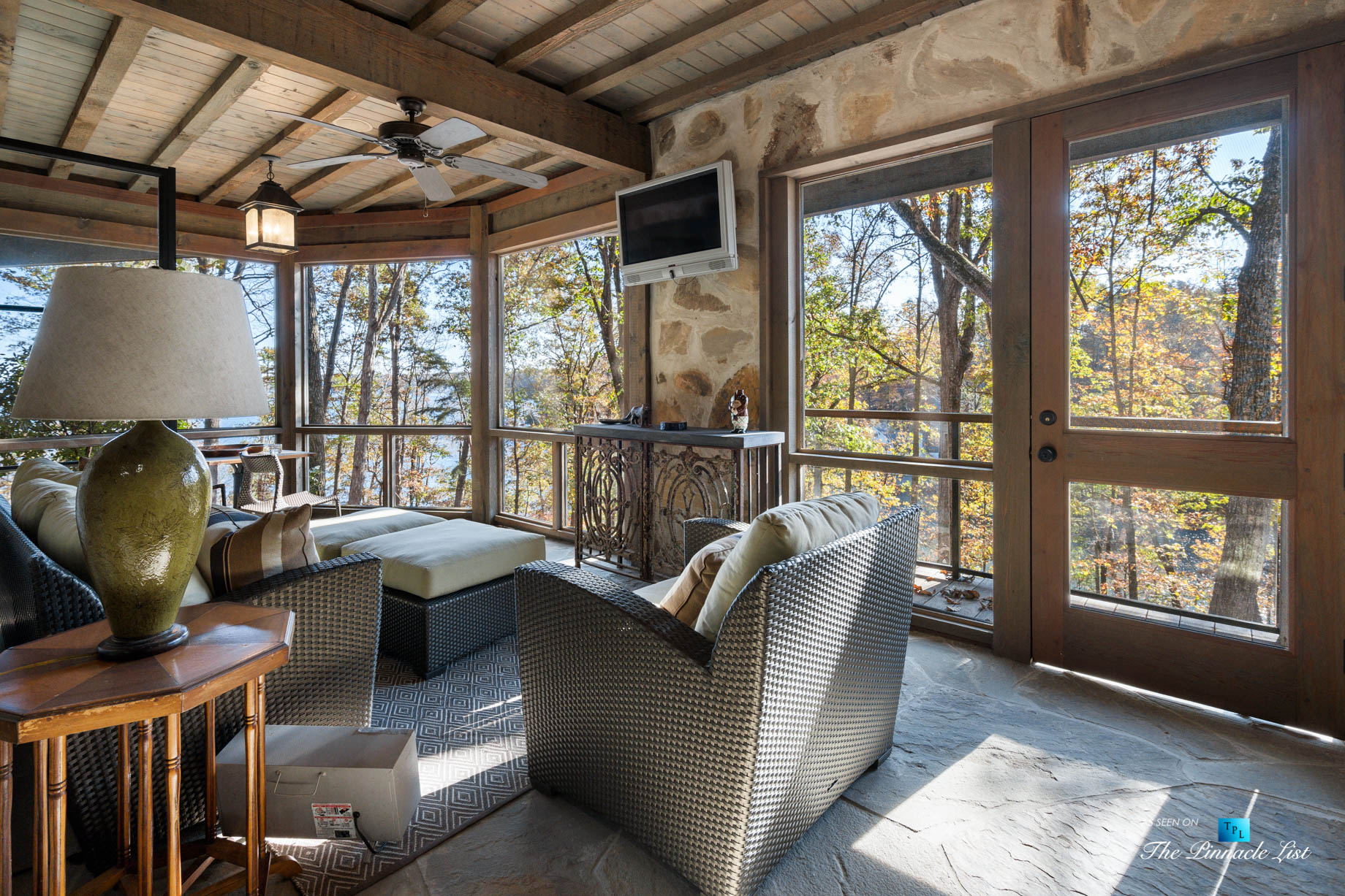 7860 Chestnut Hill Rd, Cumming, GA, USA – Covered Outdoor Deck – Luxury Real Estate – Lake Lanier Mid-Century Modern Stone Home