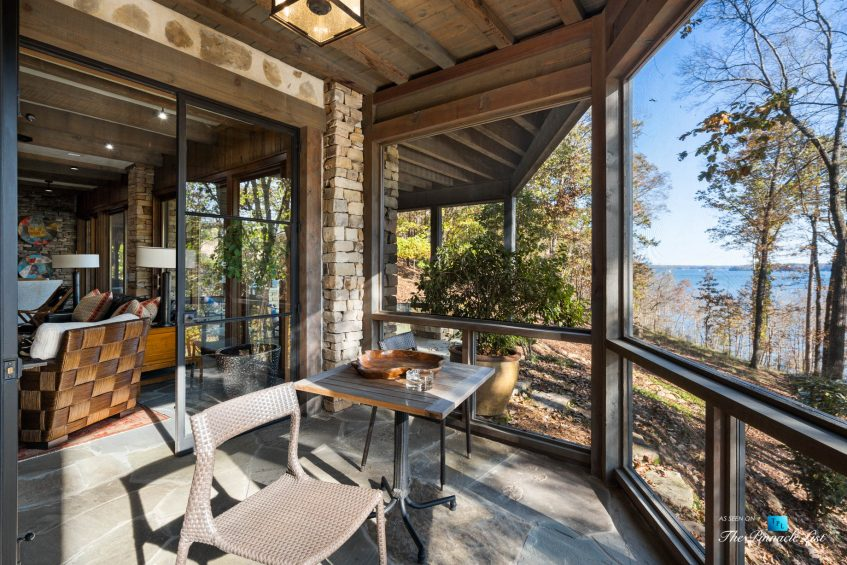 7860 Chestnut Hill Rd, Cumming, GA, USA - Covered Outdoor Deck - Luxury Real Estate - Lake Lanier Mid-Century Modern Stone Home