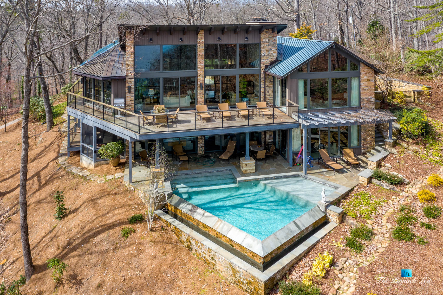 7860 Chestnut Hill Rd, Cumming, GA, USA – Drone Exterior Deck and Pool – Luxury Real Estate – Lake Lanier Mid-Century Modern Stone Home