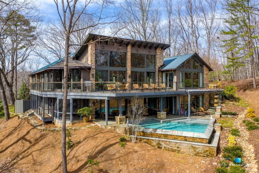 7860 Chestnut Hill Rd, Cumming, GA, USA - Exterior Deck and Pool - Luxury Real Estate - Lake Lanier Mid-Century Modern Stone Home