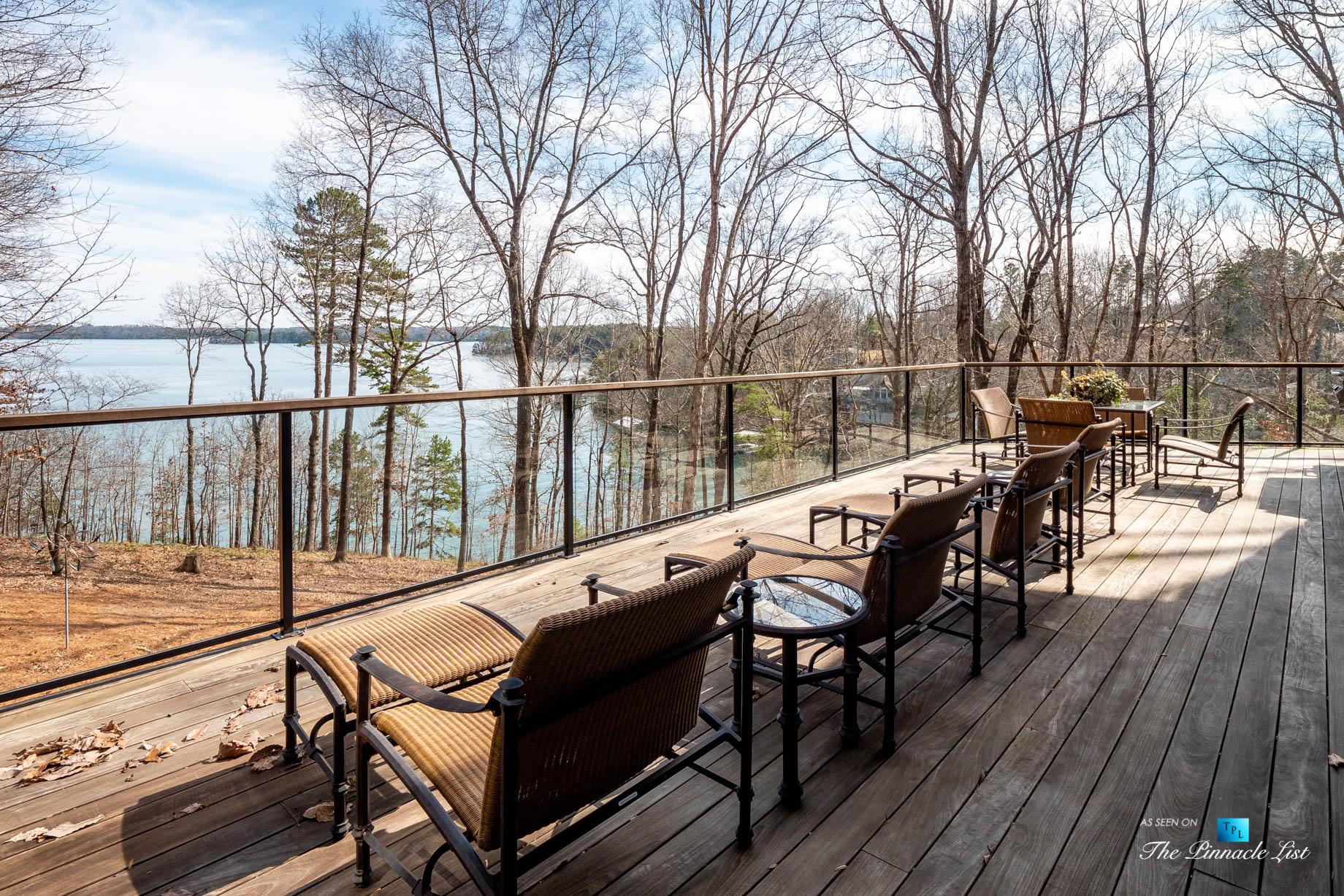 7860 Chestnut Hill Rd, Cumming, GA, USA - Exterior Deck Lake View - Luxury Real Estate - Lake Lanier Mid-Century Modern Stone Home