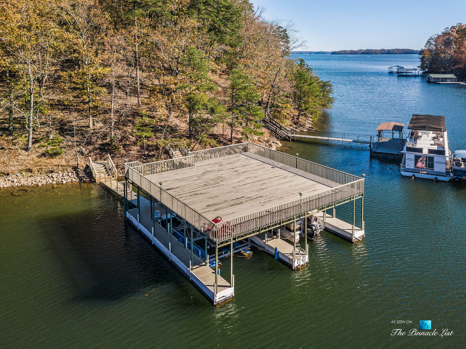 7860 Chestnut Hill Rd, Cumming, GA, USA – Private Dock with Sundeck – Luxury Real Estate – Lake Lanier Mid-Century Modern Stone Home