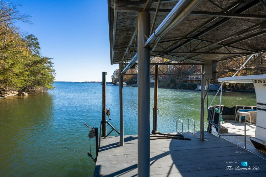 7860 Chestnut Hill Rd, Cumming, GA, USA - Private Dock with Sundeck - Luxury Real Estate - Lake Lanier Mid-Century Modern Stone Home