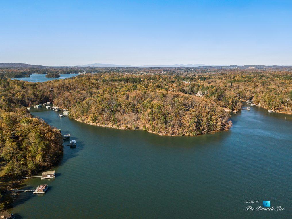 7860 Chestnut Hill Rd, Cumming, GA, USA - Drone Aerial Lake View - Luxury Real Estate - Lake Lanier Mid-Century Modern Stone Home