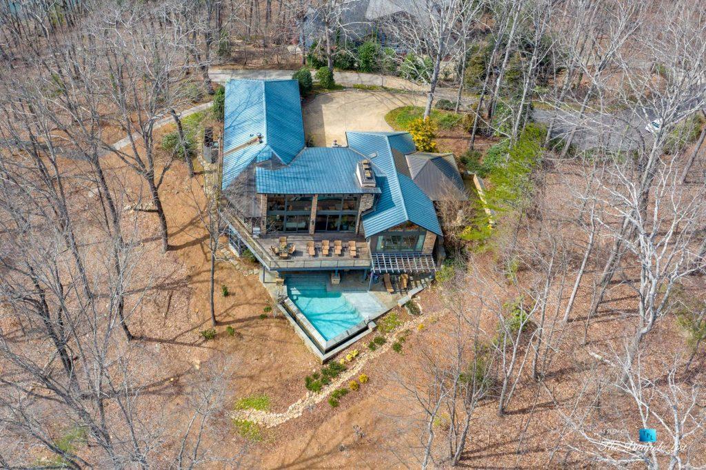 7860 Chestnut Hill Rd, Cumming, GA, USA - Drone Overhead Aerial View - Luxury Real Estate - Lake Lanier Mid-Century Modern Stone Home
