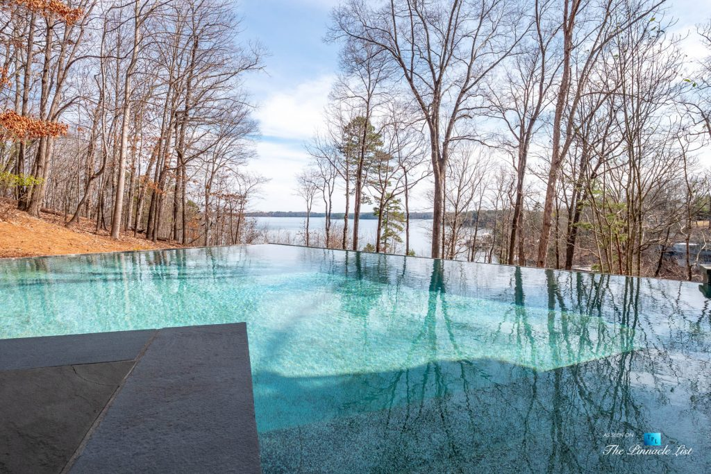 7860 Chestnut Hill Rd, Cumming, GA, USA - Pool Lake View - Luxury Real Estate - Lake Lanier Mid-Century Modern Stone Home