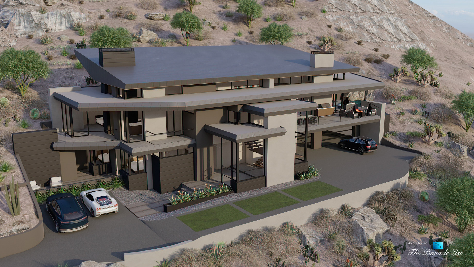 5221 E Cheney Dr, Paradise Valley, AZ, USA - Exterior Front - Luxury Real Estate - Modern Hillside Home