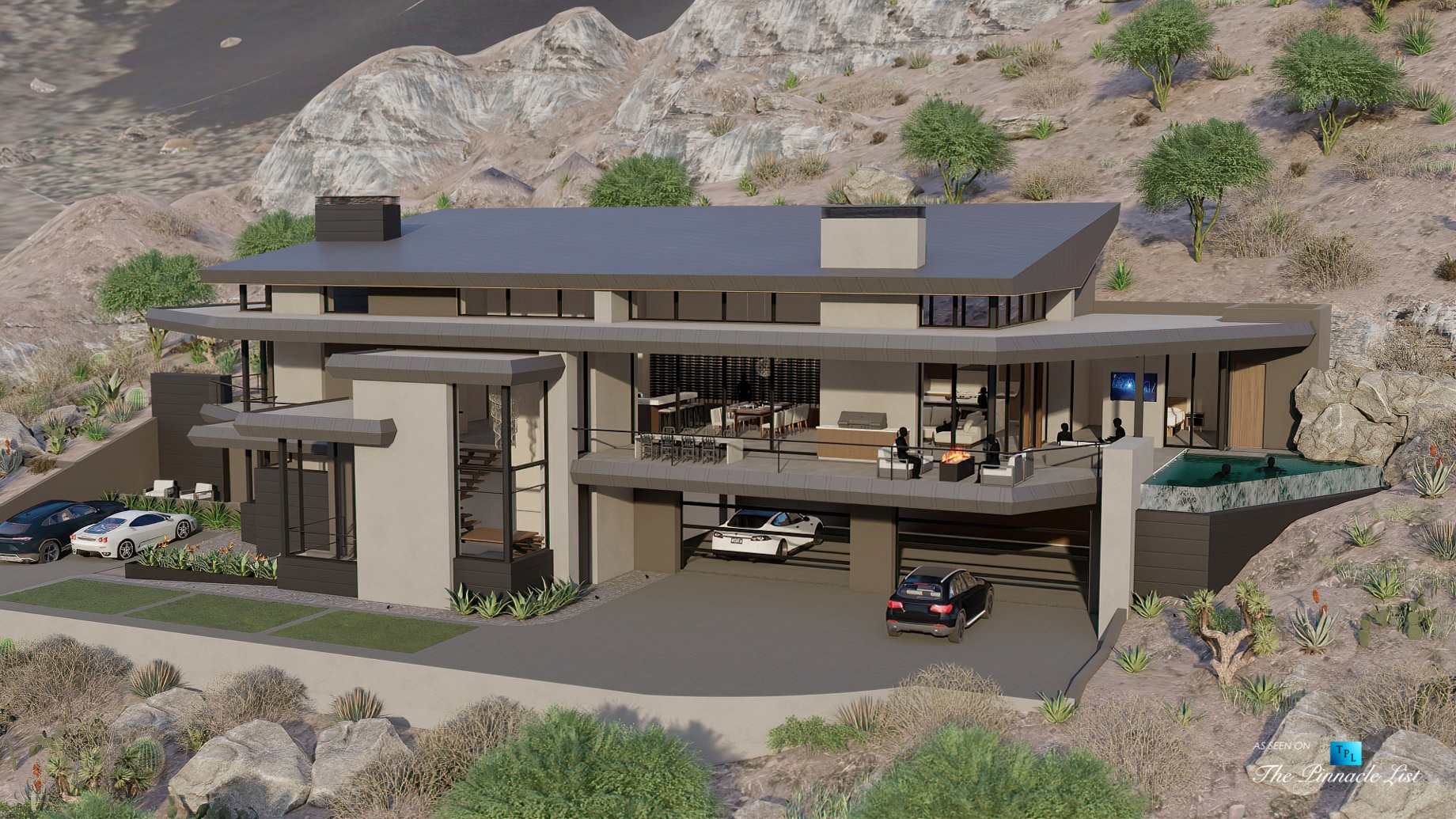 5221 E Cheney Dr, Paradise Valley, AZ, USA – Exterior Front View – Luxury Real Estate – Modern Hillside Home