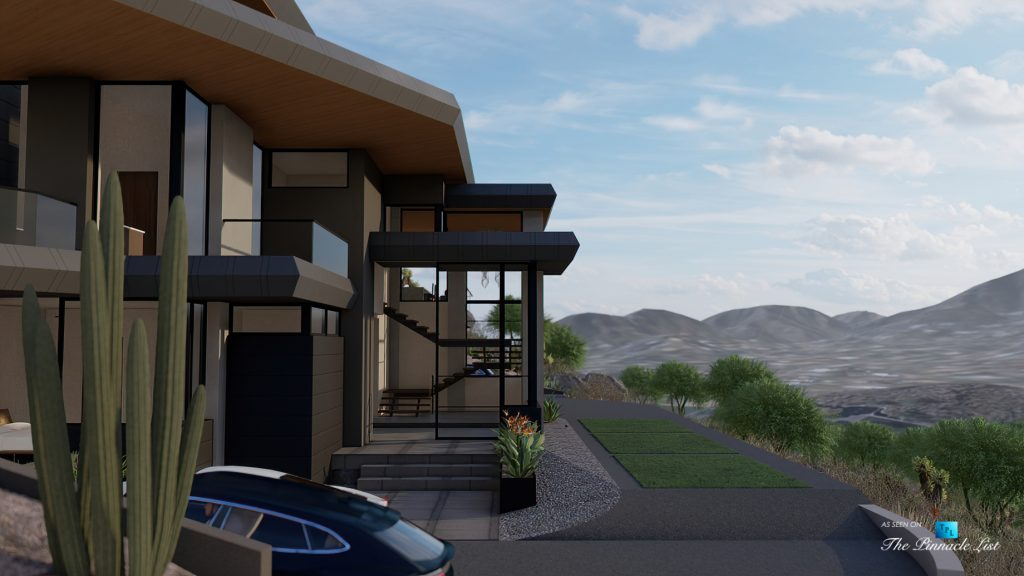 5221 E Cheney Dr, Paradise Valley, AZ, USA - Exterior Front Entrance View - Luxury Real Estate - Modern Hillside Home