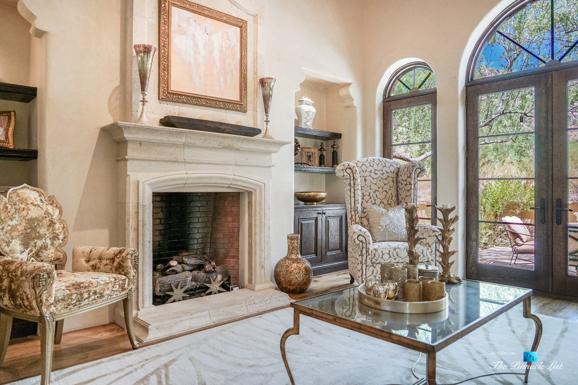6539 N 31st Pl, Phoenix, AZ, USA - Living Room Fireplace - Luxury Real Estate - Biltmore Mountain Estates - Spanish Colonial Home