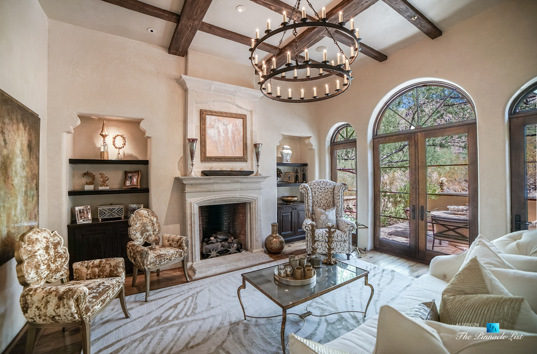 6539 N 31st Pl, Phoenix, AZ, USA – Living Room with Fireplace – Luxury Real Estate – Biltmore Mountain Estates – Spanish Colonial Home